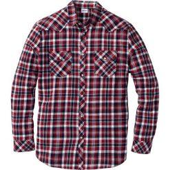Koszula flanelowa Regular Fit bonprix czerwony w kratę. Białe koszule męskie na spinki marki bonprix, z klasycznym kołnierzykiem, z długim rękawem. Za 74,99 zł.