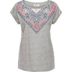 T-shirt z bawełny z nadrukiem, krótki rękaw bonprix jasnoszary melanż z nadrukiem. Szare t-shirty damskie bonprix, melanż, z okrągłym kołnierzem. Za 29,99 zł.
