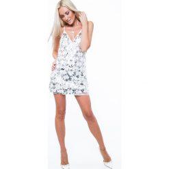 Sukienka cekinowa na cienkich ramiączkach srebrna ZZ335. Szare sukienki marki Fasardi, l, na ramiączkach. Za 94,00 zł.