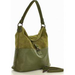 GIULIA Torebka skórzana nubuk MARCO MAZZINI - zielona. Zielone torebki klasyczne damskie MAZZINI, w paski, z nubiku. Za 289,00 zł.