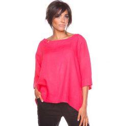 """Bluzki asymetryczne: Lniana koszulka """"Mael"""" w kolorze koralowym"""