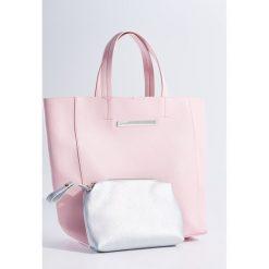Shopper bag damskie: Duża torba shopper z kosmetyczką – Różowy