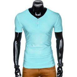 T-shirty męskie: T-SHIRT MĘSKI BEZ NADRUKU S894 - MIĘTOWY