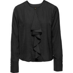 Bluzki asymetryczne: Bluzka satynowa z falbaną bonprix czarny