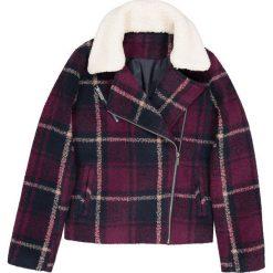Bluzy rozpinane damskie: Krótka bluza w kratke zapinana na zamek błyskawiczny