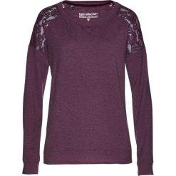 Bluza z koronką bonprix czarny bez. Fioletowe bluzy rozpinane damskie bonprix, z aplikacjami, z dżerseju. Za 89,99 zł.