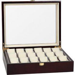 Zegarki męskie: Pudełko w kolorze brązowym na zegarki – 37,1 x 9,9 x 29,5 cm