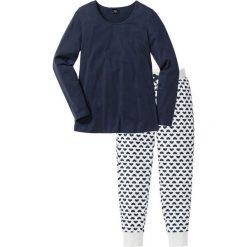 Piżamy damskie: Piżama, bawełna organiczna bonprix naturalny melanż – ciemnoniebieski z nadrukiem