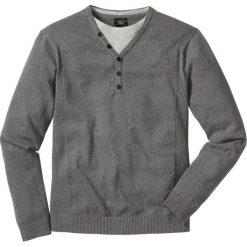 Sweter 2 w 1 Regular Fit bonprix szary melanż. Szare swetry klasyczne męskie marki bonprix, l, melanż. Za 59,99 zł.