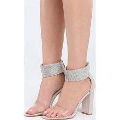 Beżowe Sandały Snobbish. Brązowe sandały damskie na słupku Born2be, z materiału, na wysokim obcasie. Za 89,99 zł.