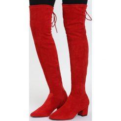 Czerwone Kozaki Backstage Queen. Czerwone buty zimowe damskie marki Born2be, na niskim obcasie, na słupku. Za 129,99 zł.