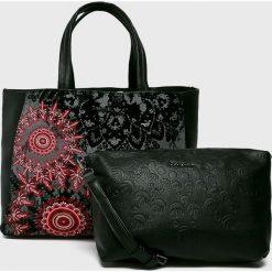 Desigual - Torebka. Czarne torebki klasyczne damskie marki Desigual, w paski, z bawełny, duże. Za 399,90 zł.