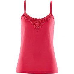 Top bonprix różowy hibiskus. Czerwone topy damskie bonprix, w koronkowe wzory, z koronki. Za 34,99 zł.