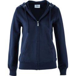 Bluza rozpinana bonprix ciemnoniebieski. Niebieskie bluzy rozpinane damskie bonprix, w paski, z kapturem. Za 59,99 zł.