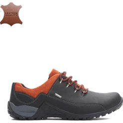 Buty zimowe męskie: Czarno-Pomarańczowe Trapery Dynamism