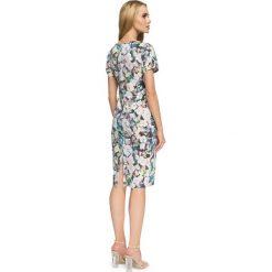 CAPRICE Sukienka z marszczonymi wstawkami. Szare sukienki balowe Stylove, w geometryczne wzory, z klasycznym kołnierzykiem, midi. Za 159,90 zł.