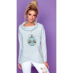 Bluza bawełniana k242. Szare bluzy dziewczęce rozpinane marki Knitis, z nadrukiem, z bawełny. Za 129,00 zł.