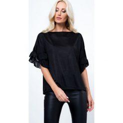 Bluzki damskie: Bluzka z falbankami przy rekawach czarna MP13004