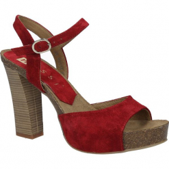 Czerwone sandały skórzane na słupku Nessi 18340. Czerwone sandały damskie na słupku Nessi. Za 248,99 zł.