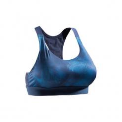Stanik fitness kardio 500. Niebieskie biustonosze sportowe marki DOMYOS, z elastanu. Za 49,99 zł.
