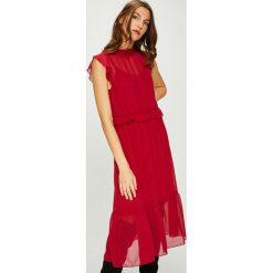 Vero Moda - Sukienka. Szare sukienki na komunię marki Vero Moda, na co dzień, l, z poliesteru, casualowe, z okrągłym kołnierzem, midi, proste. Za 169,90 zł.