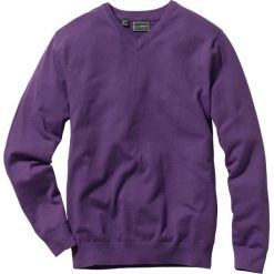 Swetry męskie: Sweter z dekoltem w serek Regular Fit bonprix jagodowy