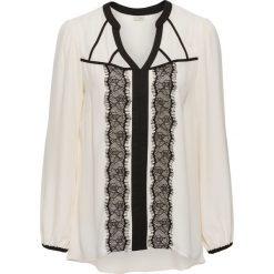 Bluzki damskie: Bluzka z długim rękawem i koronką bonprix kremowo-czarny