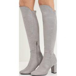Jasnoszare Kozaki No Sense. Szare buty zimowe damskie marki vices, na wysokim obcasie. Za 99,99 zł.