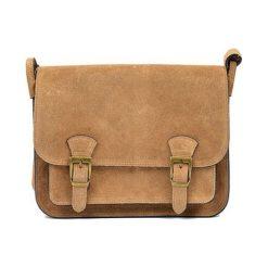 Torebki klasyczne damskie: Skórzana torebka w kolorze ciemnobeżowym – (S)21 x (W)26 x (G)8 cm