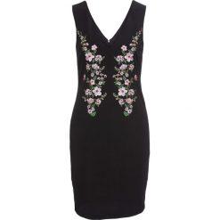 Sukienki: Sukienka z krepy z dżerseju z haftem bonprix czarny