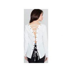 Bluzka K385 Ecru. Brązowe bluzki longsleeves Lenitif, xl, z dekoltem na plecach. Za 119,00 zł.