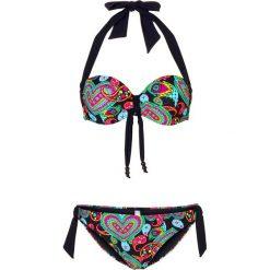 Bikini na fiszbinach bonprix czarno-kolorowy. Czarne bikini bonprix, w kolorowe wzory. Za 89,99 zł.