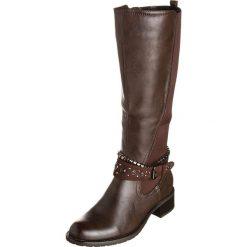Kozaki w kolorze brązowym. Brązowe buty zimowe damskie Divine Factory. W wyprzedaży za 130,95 zł.