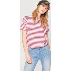 Bluzki, topy, tuniki: Koszulka z asymetrycznym dołem – Różowy