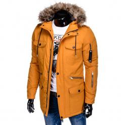 KURTKA MĘSKA ZIMOWA C382 - MUSZTARDOWA. Brązowe kurtki męskie bomber Ombre Clothing, na zimę, m. Za 189,00 zł.
