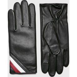 Tommy Hilfiger - Rękawiczki skórzane. Czarne rękawiczki męskie marki TOMMY HILFIGER, z elastanu. Za 399,90 zł.