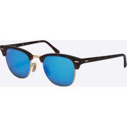Ray-Ban - Okulary Clubmaster. Szare okulary przeciwsłoneczne męskie lustrzane marki Ray-Ban, z materiału. Za 599,90 zł.