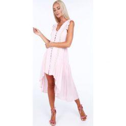 Sukienka zapinana na guziki jasnoróżowa ZZ326. Czerwone sukienki Fasardi, l. Za 99,00 zł.