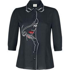Bluzki asymetryczne: Dancing Days Rockabilly Langarmbluse Bluzka czarny