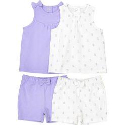 Zestaw 2 komplecików dziecięcych : T-shirt + krótkie spodenki - 1 miesiąc 3 latka. Szare spodenki dziewczęce marki La Redoute Collections, z nadrukiem, z bawełny. Za 70,52 zł.