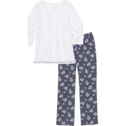 Piżamy damskie: Piżama bonprix niebieski z nadrukiem