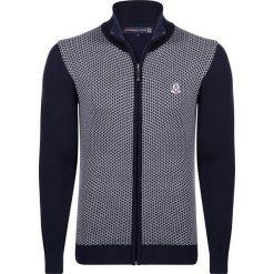 Golfy męskie: Sweter rozpinany w kolorze granatowo-białym