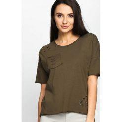 T-shirty damskie: Khaki T-shirt Recut