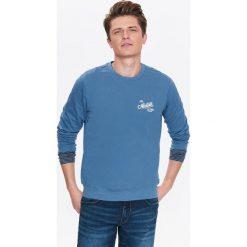 BLUZA MĘSKA NIEROZPINANA Z NADRUKIEM. Szare bluzy męskie rozpinane marki Top Secret, na lato, m, z nadrukiem. Za 29,99 zł.