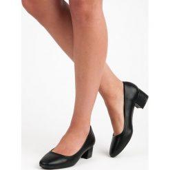 Buty ślubne damskie: Czarne czółenka na niskim obcasie BROOKLYN czarne