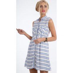 Niebieska Sukienka w Paski BB5378. Niebieskie sukienki Fasardi, m, w paski. Za 51,75 zł.