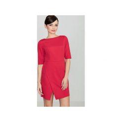 Sukienka K200 Czerwony. Czerwone sukienki asymetryczne marki Lenitif, xl, z tkaniny, eleganckie, z asymetrycznym kołnierzem. Za 139,00 zł.