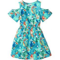 Odzież dziecięca: Sukienka z wycięciami na ramionach bonprix miętowy z nadrukiem