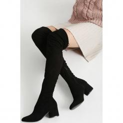 Czarne Kozaki My Day Was Good. Czarne buty zimowe damskie other, z materiału, z okrągłym noskiem, na wysokim obcasie, na obcasie. Za 169,99 zł.