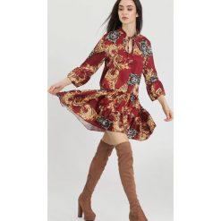 Bordowa Sukienka Black Happiness. Czerwone sukienki hiszpanki other, uniwersalny, mini. Za 89,99 zł.